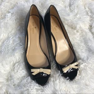 Kate Spade Black Patent Leather Bow Wedges Flats